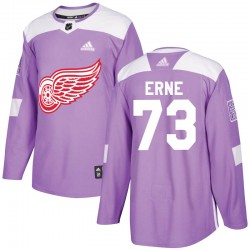 Adam Erne Detroit Red Wings Men's Adidas Authentic Purple Hockey Fights Cancer Practice Jersey