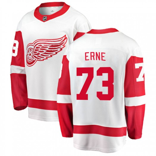Adam Erne Detroit Red Wings Men's Fanatics Branded White Breakaway Away Jersey