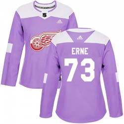 Adam Erne Detroit Red Wings Women's Adidas Authentic Purple Hockey Fights Cancer Practice Jersey