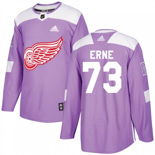 Adam Erne Detroit Red Wings Youth Adidas Authentic Purple Hockey Fights Cancer Practice Jersey
