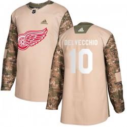 Alex Delvecchio Detroit Red Wings Men's Adidas Authentic Camo Veterans Day Practice Jersey