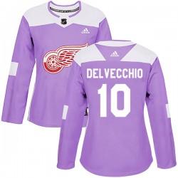 Alex Delvecchio Detroit Red Wings Women's Adidas Authentic Purple Hockey Fights Cancer Practice Jersey