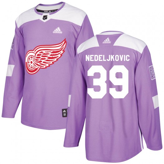 Alex Nedeljkovic Detroit Red Wings Youth Adidas Authentic Purple Hockey Fights Cancer Practice Jersey