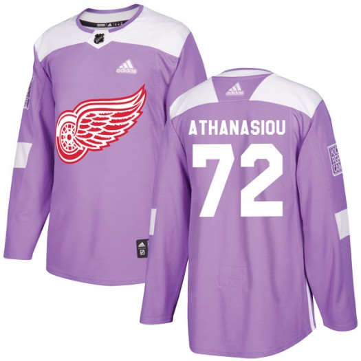 Andreas Athanasiou Detroit Red Wings Men's Adidas Authentic Purple Hockey Fights Cancer Practice Jersey