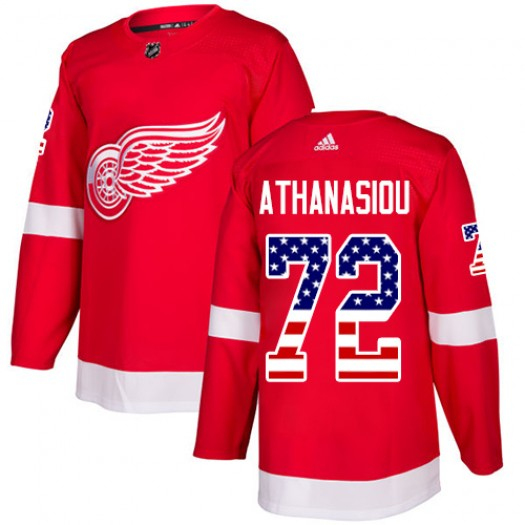 Andreas Athanasiou Detroit Red Wings Men's Adidas Authentic Red USA Flag Fashion Jersey