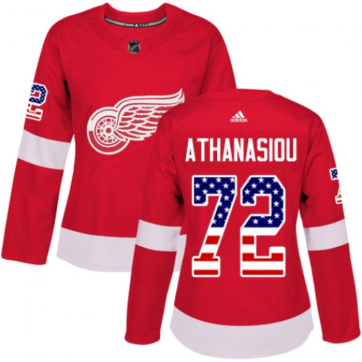 Andreas Athanasiou Detroit Red Wings Women's Adidas Authentic Red USA Flag Fashion Jersey