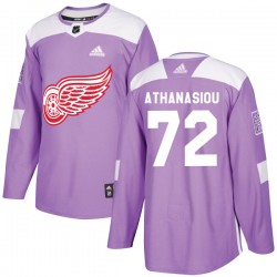 Andreas Athanasiou Detroit Red Wings Youth Adidas Authentic Purple Hockey Fights Cancer Practice Jersey