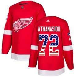 Andreas Athanasiou Detroit Red Wings Youth Adidas Authentic Red USA Flag Fashion Jersey
