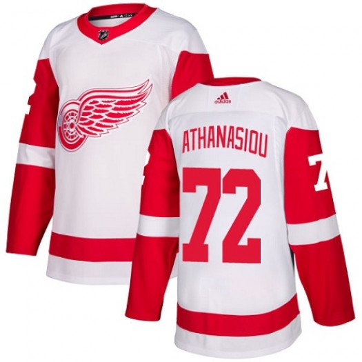 Andreas Athanasiou Detroit Red Wings Youth Adidas Authentic White Away Jersey