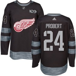 Bob Probert Detroit Red Wings Men's Adidas Authentic Black 1917-2017 100th Anniversary Jersey