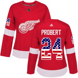 Bob Probert Detroit Red Wings Women's Adidas Authentic Red USA Flag Fashion Jersey