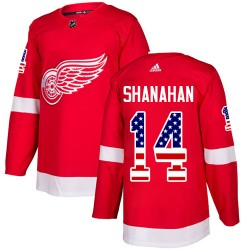 Brendan Shanahan Detroit Red Wings Men's Adidas Authentic Red USA Flag Fashion Jersey