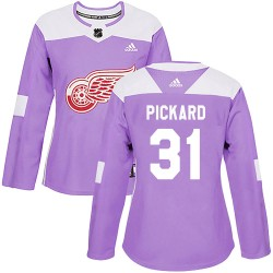 Calvin Pickard Detroit Red Wings Women's Adidas Authentic Purple Hockey Fights Cancer Practice Jersey
