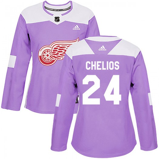 Chris Chelios Detroit Red Wings Women's Adidas Authentic Purple Hockey Fights Cancer Practice Jersey