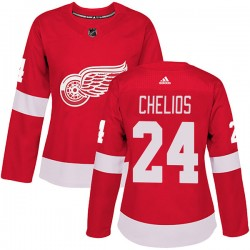 Chris Chelios Detroit Red Wings Women's Adidas Authentic Red Home Jersey