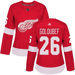 Cody Goloubef Detroit Red Wings Women's Adidas Authentic Red ized Home Jersey
