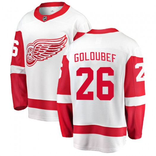 Cody Goloubef Detroit Red Wings Youth Fanatics Branded White ized Breakaway Away Jersey