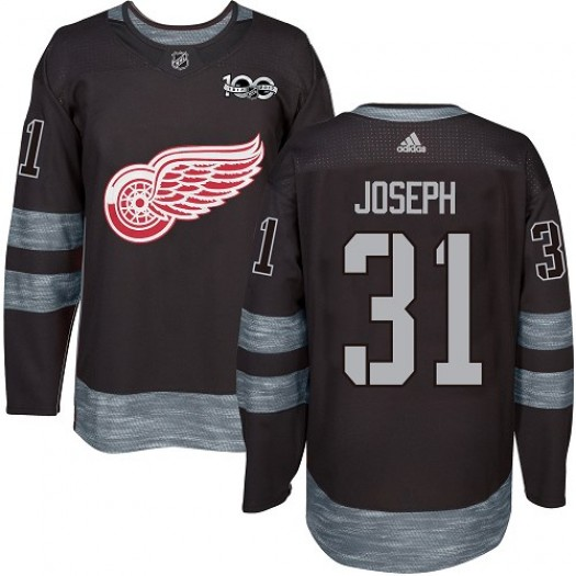 Curtis Joseph Detroit Red Wings Men's Adidas Authentic Black 1917-2017 100th Anniversary Jersey