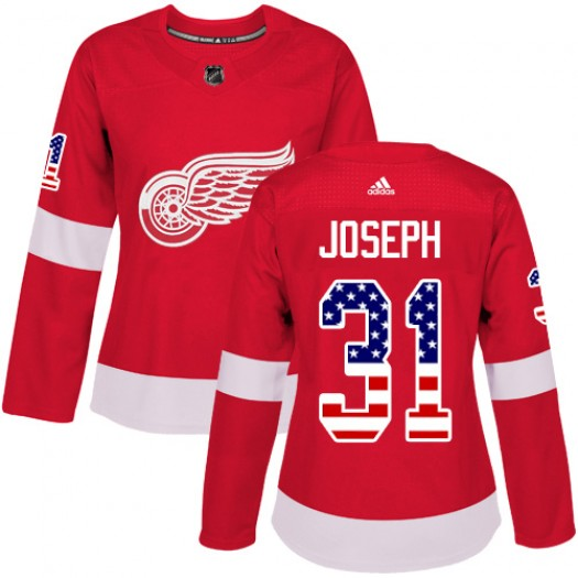 Curtis Joseph Detroit Red Wings Women's Adidas Authentic Red USA Flag Fashion Jersey