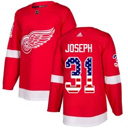 Curtis Joseph Detroit Red Wings Youth Adidas Authentic Red USA Flag Fashion Jersey