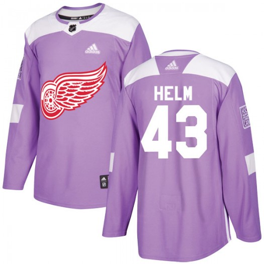 Darren Helm Detroit Red Wings Men's Adidas Authentic Purple Hockey Fights Cancer Practice Jersey