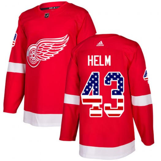 Darren Helm Detroit Red Wings Men's Adidas Authentic Red USA Flag Fashion Jersey