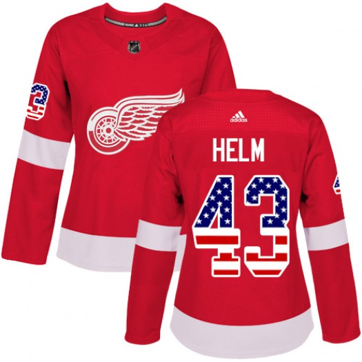 Darren Helm Detroit Red Wings Women's Adidas Authentic Red USA Flag Fashion Jersey