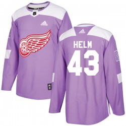 Darren Helm Detroit Red Wings Youth Adidas Authentic Purple Hockey Fights Cancer Practice Jersey