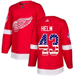 Darren Helm Detroit Red Wings Youth Adidas Authentic Red USA Flag Fashion Jersey