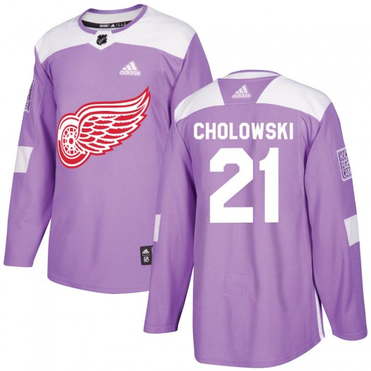 Dennis Cholowski Detroit Red Wings Men's Adidas Authentic Purple Hockey Fights Cancer Practice Jersey