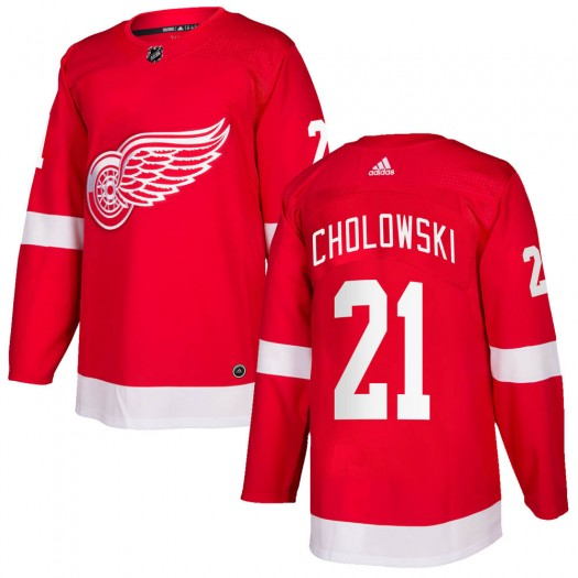 Dennis Cholowski Detroit Red Wings Men's Adidas Authentic Red Home Jersey