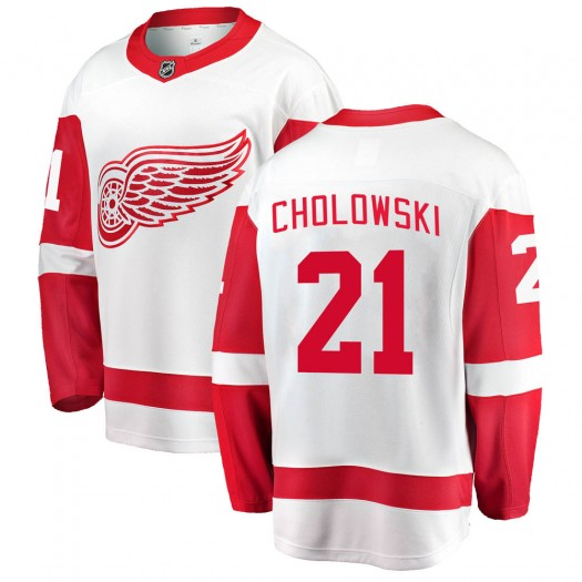 Dennis Cholowski Detroit Red Wings Men's Fanatics Branded White Breakaway Away Jersey