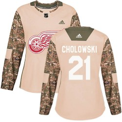 Dennis Cholowski Detroit Red Wings Women's Adidas Authentic Camo Veterans Day Practice Jersey
