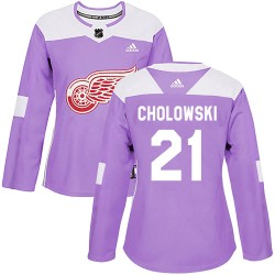 Dennis Cholowski Detroit Red Wings Women's Adidas Authentic Purple Hockey Fights Cancer Practice Jersey