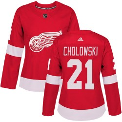 Dennis Cholowski Detroit Red Wings Women's Adidas Authentic Red Home Jersey