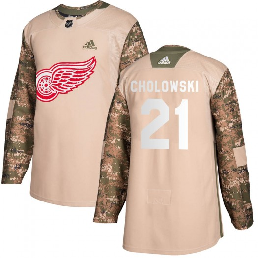 Dennis Cholowski Detroit Red Wings Youth Adidas Authentic Camo Veterans Day Practice Jersey