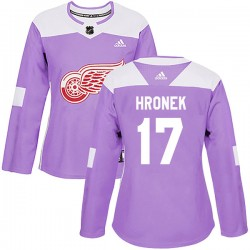 Filip Hronek Detroit Red Wings Women's Adidas Authentic Purple Hockey Fights Cancer Practice Jersey
