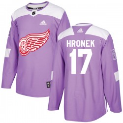 Filip Hronek Detroit Red Wings Youth Adidas Authentic Purple Hockey Fights Cancer Practice Jersey