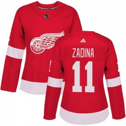 Filip Zadina Detroit Red Wings Women's Adidas Authentic Red Home Jersey