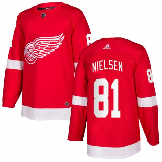 Frans Nielsen Detroit Red Wings Men's Adidas Authentic Red Home Jersey