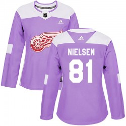 Frans Nielsen Detroit Red Wings Women's Adidas Authentic Purple Hockey Fights Cancer Practice Jersey