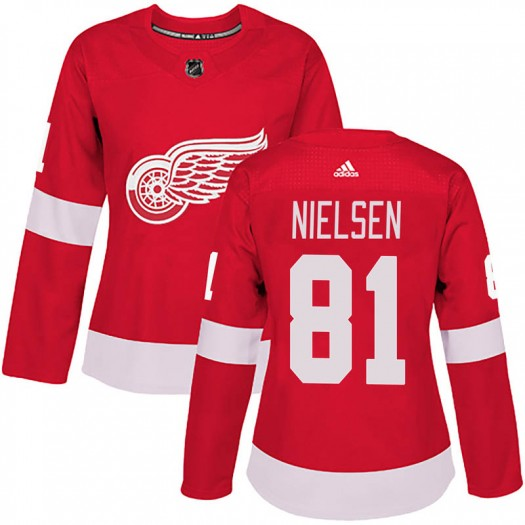 Frans Nielsen Detroit Red Wings Women's Adidas Authentic Red Home Jersey