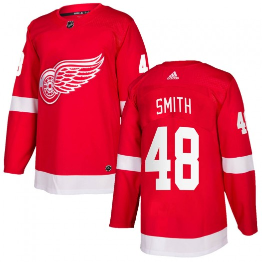 Givani Smith Detroit Red Wings Men's Adidas Authentic Red Home Jersey