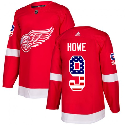 Gordie Howe Detroit Red Wings Men's Adidas Authentic Red USA Flag Fashion Jersey