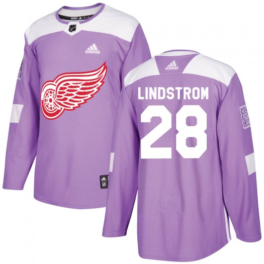 Gustav Lindstrom Detroit Red Wings Men's Adidas Authentic Purple Hockey Fights Cancer Practice Jersey