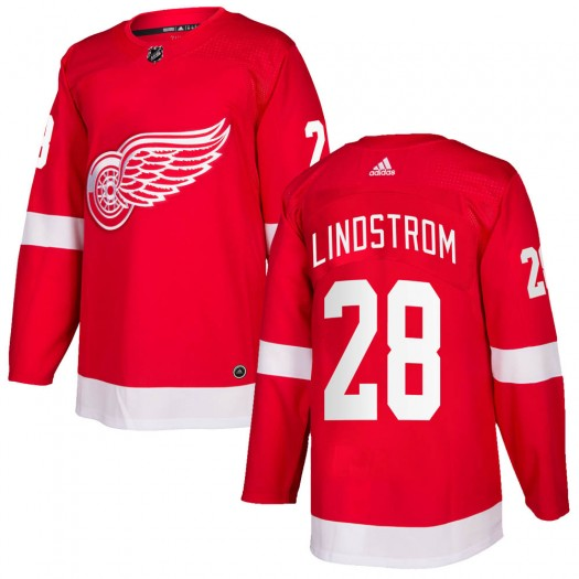Gustav Lindstrom Detroit Red Wings Men's Adidas Authentic Red Home Jersey