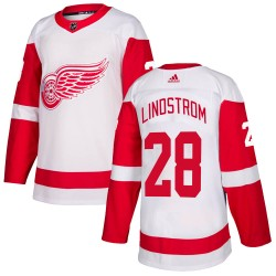 Gustav Lindstrom Detroit Red Wings Men's Adidas Authentic White Jersey