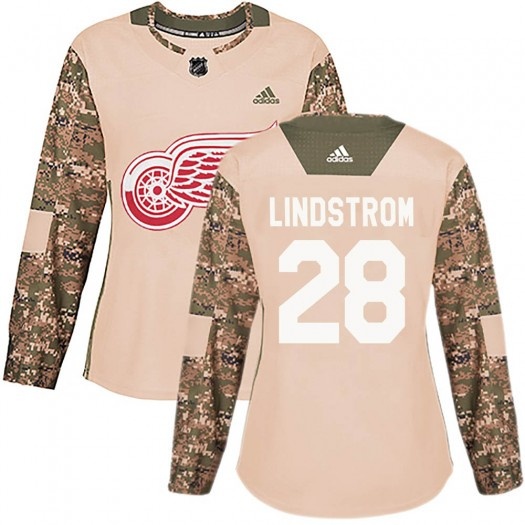 Gustav Lindstrom Detroit Red Wings Women's Adidas Authentic Camo Veterans Day Practice Jersey
