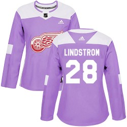Gustav Lindstrom Detroit Red Wings Women's Adidas Authentic Purple Hockey Fights Cancer Practice Jersey