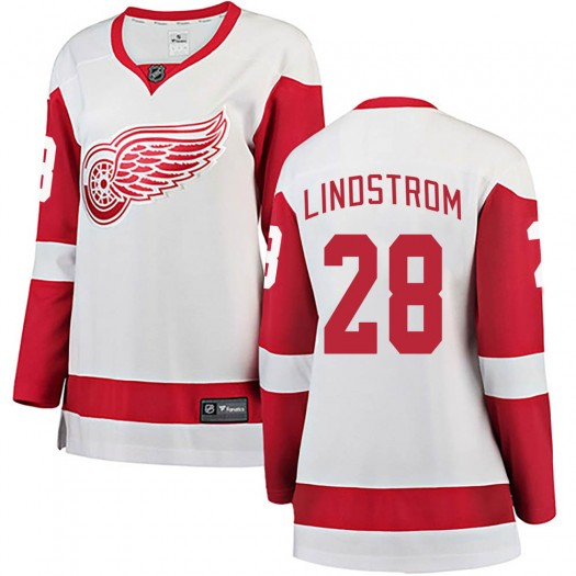 Gustav Lindstrom Detroit Red Wings Women's Fanatics Branded White Breakaway Away Jersey